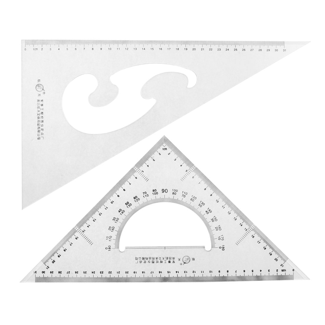Unique Bargains School Stationery 30 60 45 Degree Triangle Rulers Protractor Measure Set 2... by