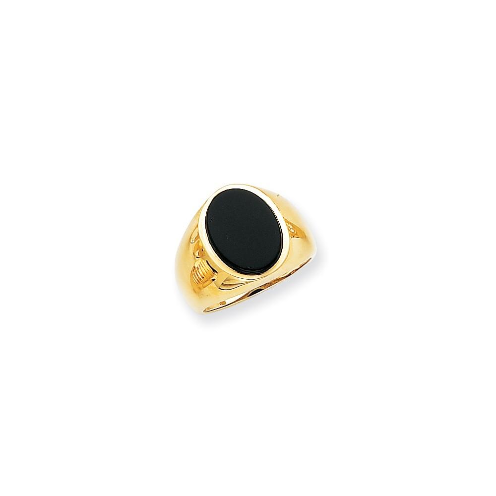 14k Yellow Gold Men's Onyx Ring