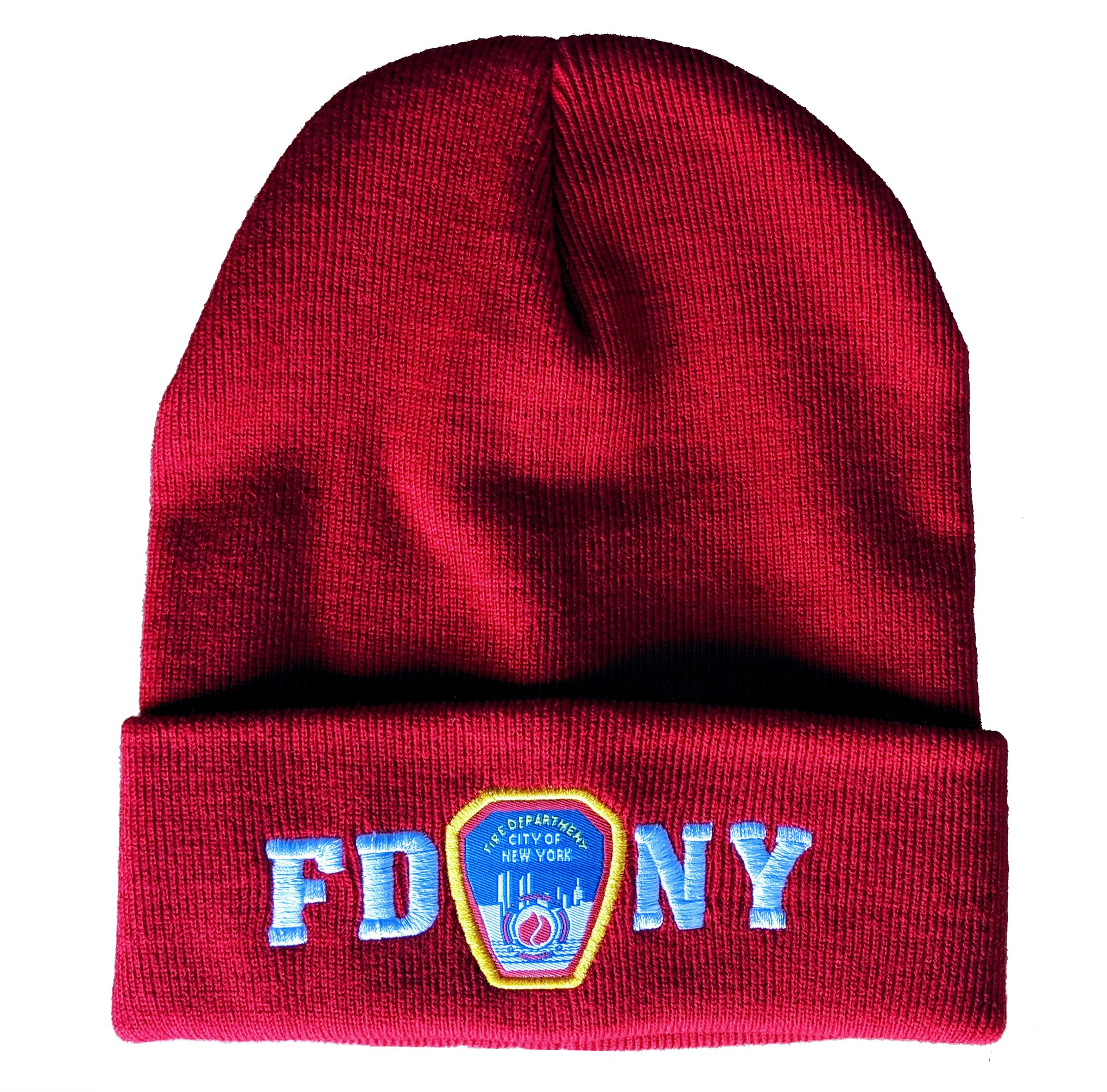 FDNY Winter Hat Police Badge Fire Department Of New York City Red /& White One...