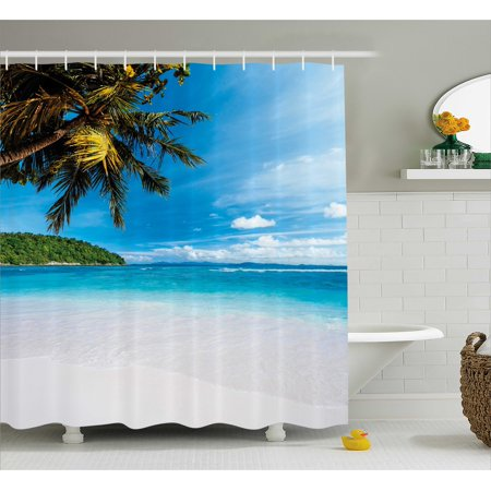 Tropical Shower Curtain, Exotic Beach with White Sand and Palm Tree Green Forest Clear Sky and Clouds, Fabric Bathroom Set with Hooks, 69W X 84L Inches Extra Long, Blue White Green, by Ambesonne ()