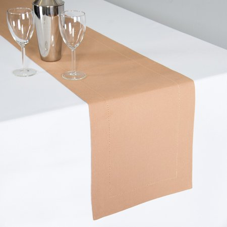 Linen Tablecloth Hemstitch Table Runner, Natural