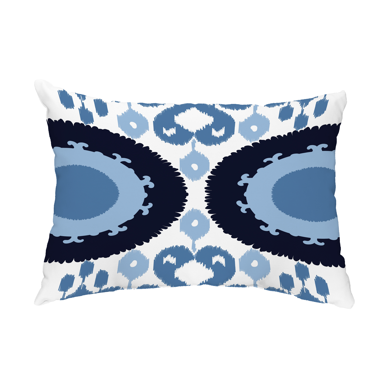 Boho 14x20 Inch Navy Blue Decorative Abstract Outdoor Throw Pillow