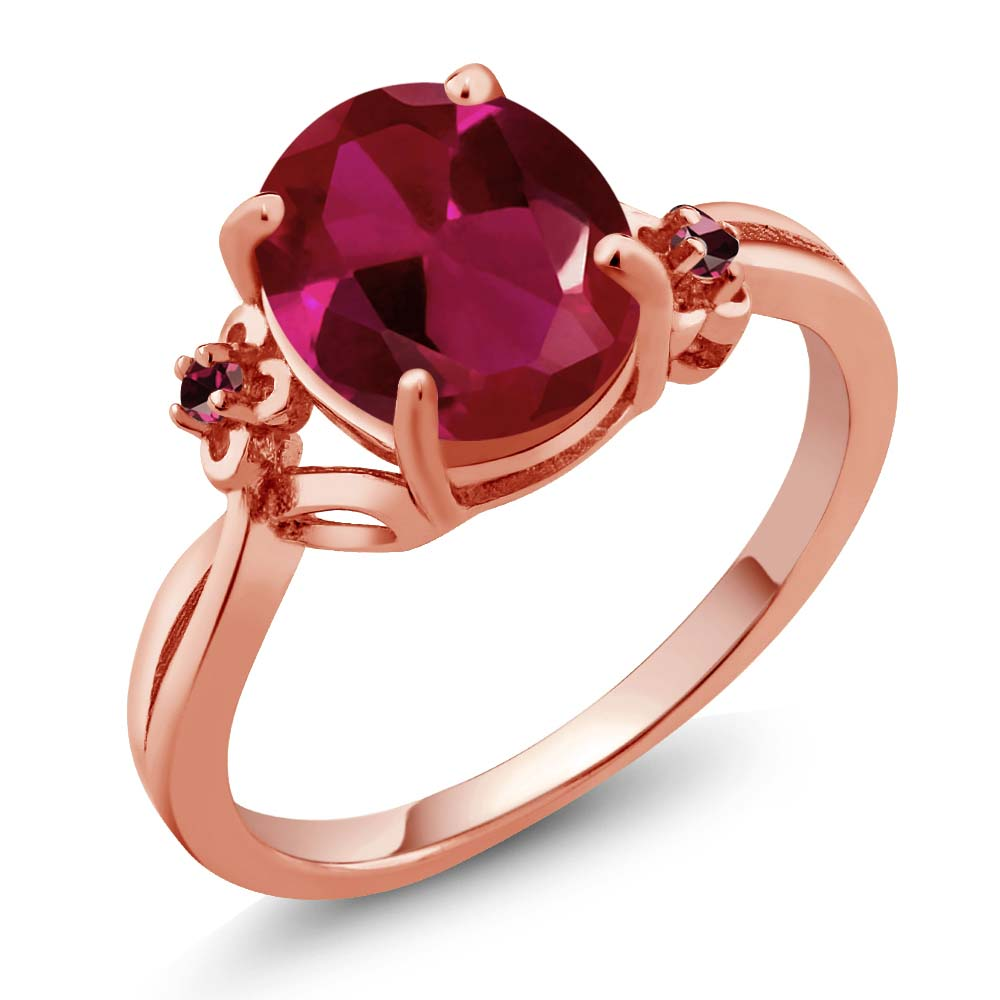 3.38 Ct Red Created Ruby Rhodolite Garnet Rose Gold Plated Sterling Silver Ring