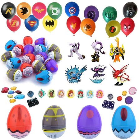 Party Favor Supplies - 24 Pokemon Theme 2.25'' Print Plastic Easter Egg with Assorted Figurine, Super Hero Balloons, Dice, Gem Accessories and More - Ready To Fill Plastic - Jewel Superhero