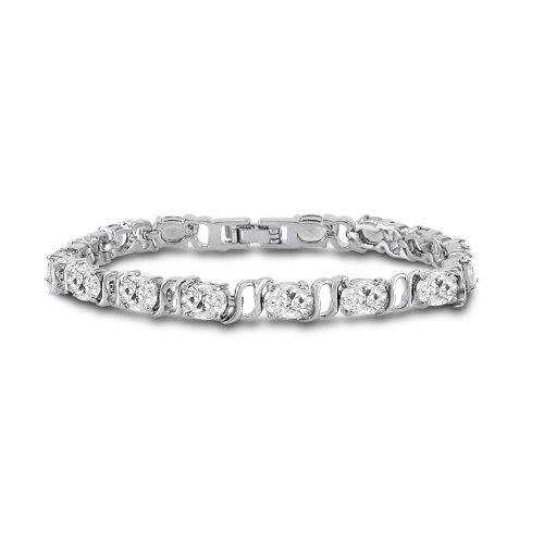 Silver Plated Brass Oval Cut White Cubic Zirconia Tennis Bracelet 7 inch