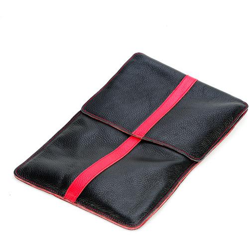 Luardi Genuine Italian Leather Pouch, Black/Red