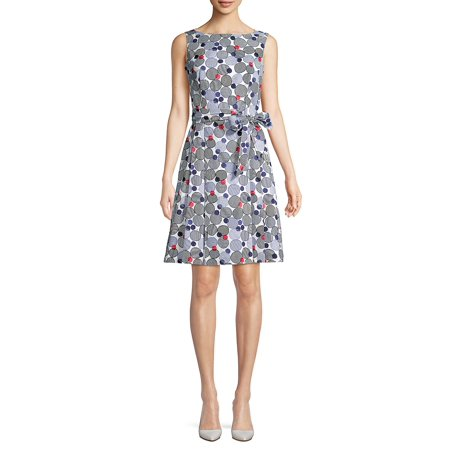 Boat-Neck Printed Tie-Waist Fit-&-Flare Dress (Ak Anne Klein Sport Womens Guardian Dress Pump)