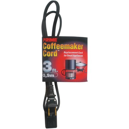 Prime Coffee Maker and Small Appliance Power Supply Cord, Black, 3-Feet