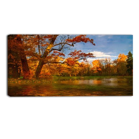 Design Art Quiet and Silent Autumn Landscape Painting Print on Wrapped Canvas