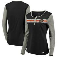 Anaheim Ducks Fanatics Branded Women's True Classics Retro Henley Long Sleeve T-Shirt - Black/Heathered Gray