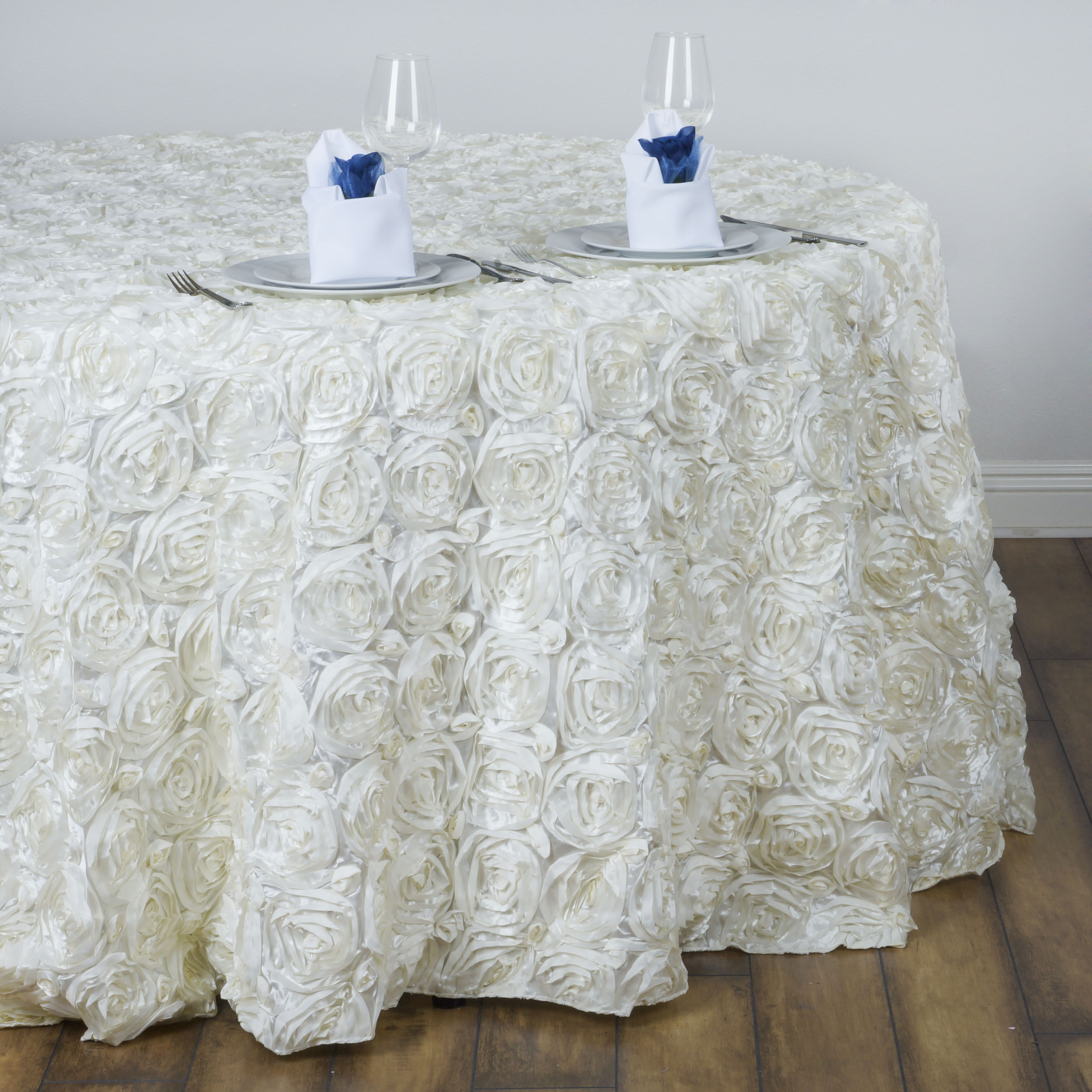 Efavormart Rosette/ Rose Pattern Round Tablecloths 132""