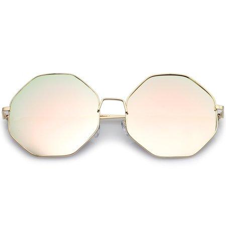 sunglassLA - Oversize Metal Frame Slim Temple Pink Mirror Lens Hexagon Sunglasses 63mm - (Thirteen Sunglasses)