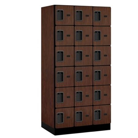 Salsbury 36361MAH Salsbury Designer Wood Locker Six Tier Box Style - 3 Wide - 6 Feet High - 21 Inches Deep - Mahogany