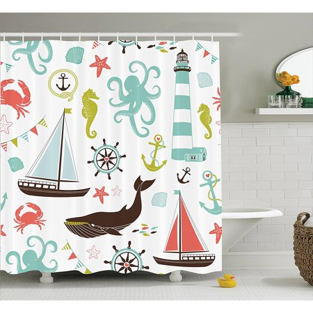 Fabric Shower Curtain By Whale Shark Seahorse Sea Creatures Rope And Anchor Octopus Coral Crab Marine Lighthouse Ocean Theme Home Decor Bathroom