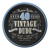 "Vintage Dude 40th Cake Plate 7"" (8 Pack) - Party Supplies"