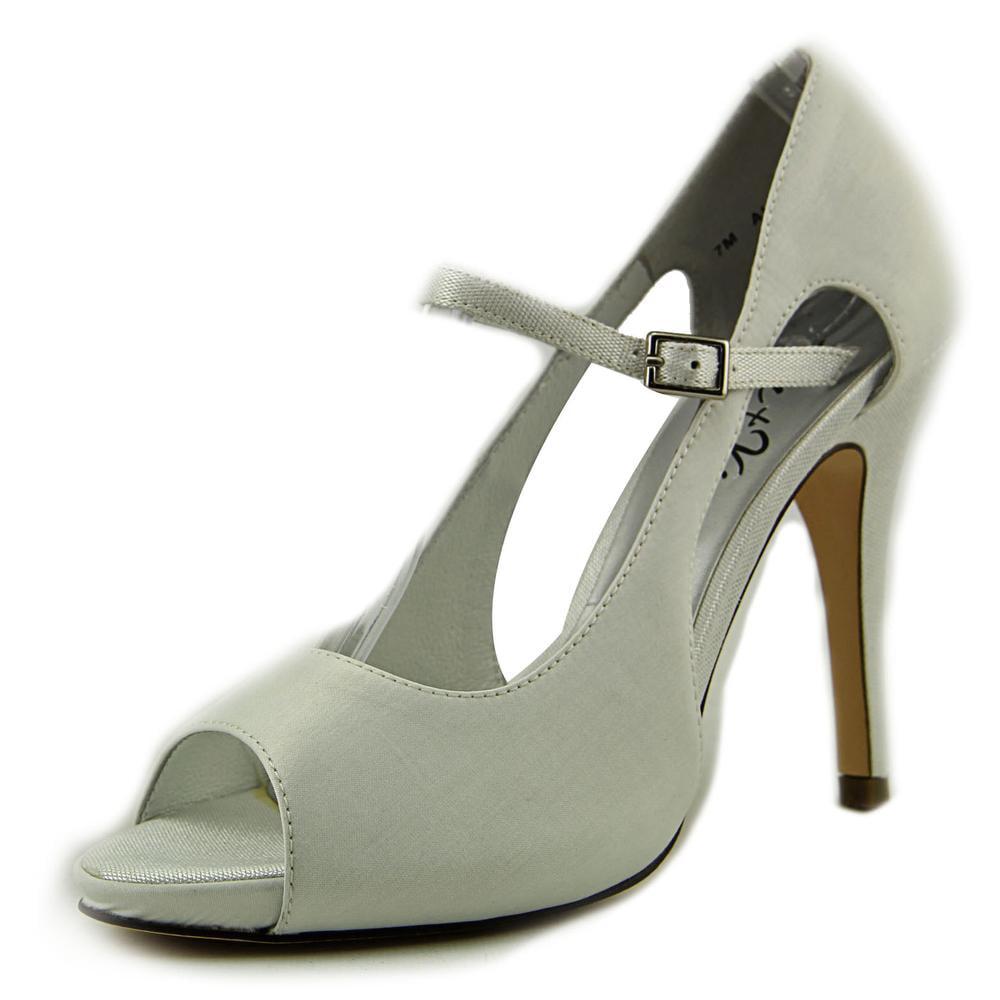 Jen + Kim for Coloriffics Allure Women Open-Toe Canvas White Heels by Jen   Kim for Coloriffics