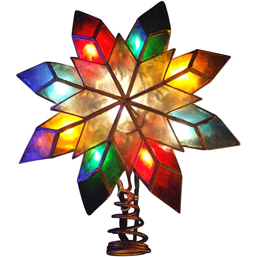 Kurt Adler 10-Light Capiz Star Multicolored Treetop