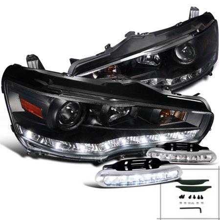 Spec-D Tuning 2008-2015 Mitsubishi Lancer Black R8 Style Led Projector Headlight + Bumper Lights Fog Lamp (Left + Right) 08 09 10 11 12 13 14 15