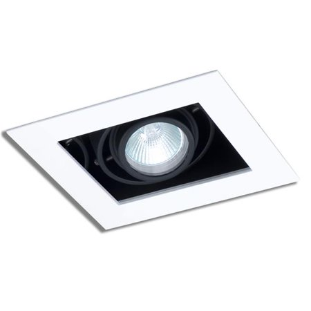 Jesco Lighting MMGGU1050-1WB 1 Light Line Voltage New Construction Modulinear Directional Recessed Lighting Fixture, White Trim with Black Interior