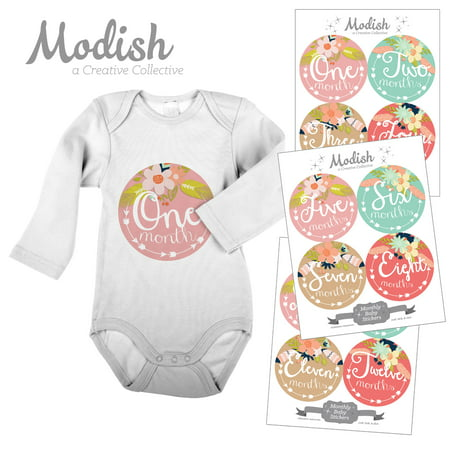 Modish Monthly Baby Stickers, Girl, Floral, Tribal Flowers, Arrows, Pink, Mint, Tan, Baby Photo Prop, Baby Shower Gift, Baby Book Keepsake