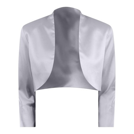 - Silver 3/4 Sleeve Satin Style Bolero Shrug Jacket Size X-Large