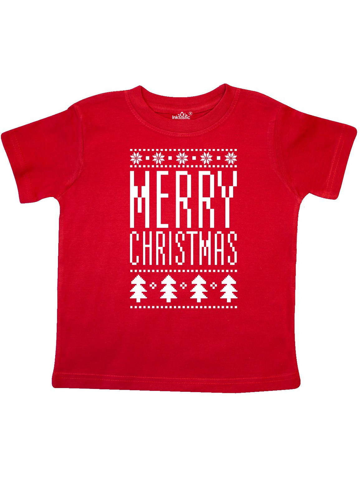 Merry Christmas ugly knitted sweater style Toddler T-Shirt