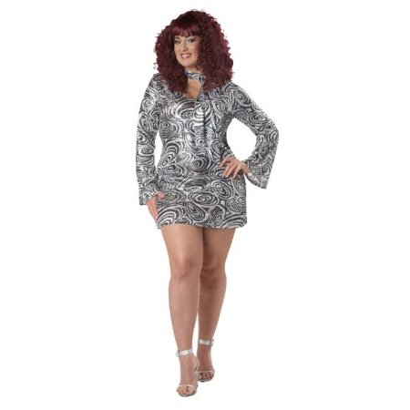 California Costumes Women\'s Plus-Size Disco Diva Plus, Silver, 3X](Plus Size Disco Costume)