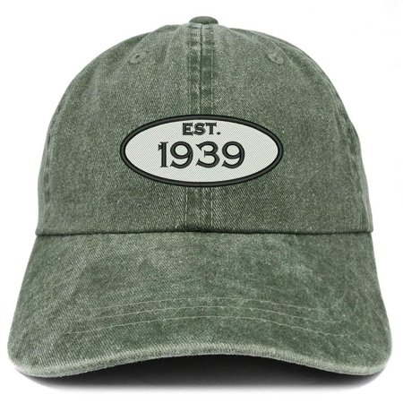 Trendy Apparel Shop Established 1939 Embroidered 79th Birthday Gift Pigment Dyed Washed Cotton Cap - Black