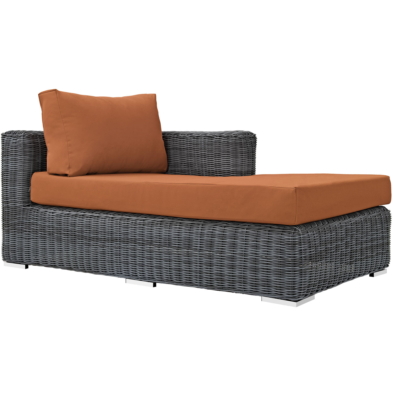 Modern Contemporary Urban Design Outdoor Patio Balcony Right Arm Chaise Lounge Chair, Orange, Rattan