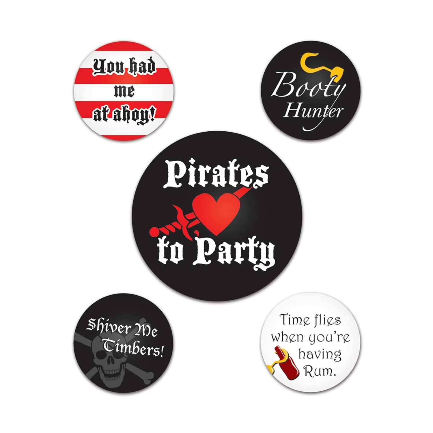 Club Pack of 60 Pirate Party Buttons