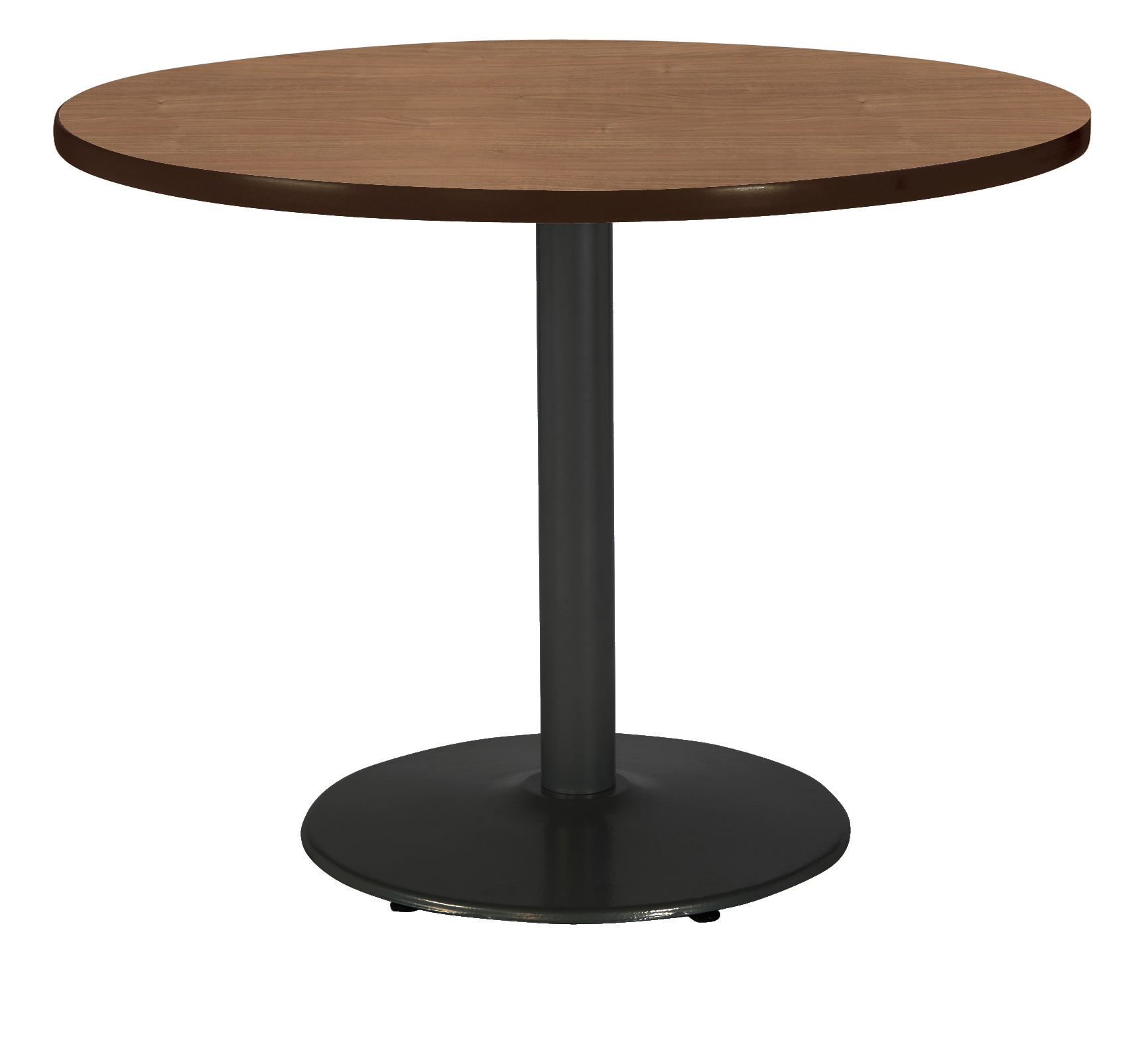 "KFI Mode 48"" Round Breakroom Table, River Cherry, Black Base, Bistro Height"