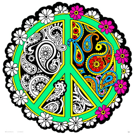 Peace Fuzzy Mandala Coloring Poster - - Velvet Coloring Posters