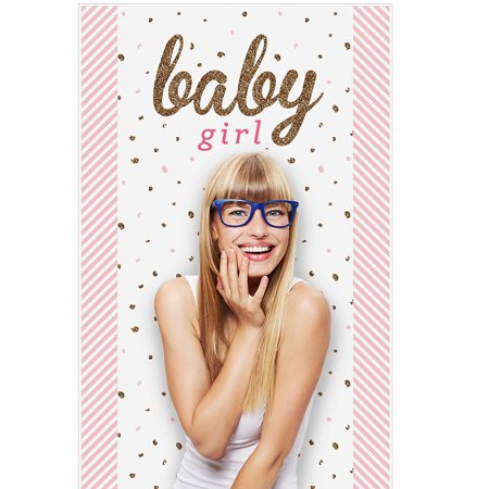 Hello Little One - Pink and Gold - Girl Baby Shower Photo Booth Backdrop - 36...