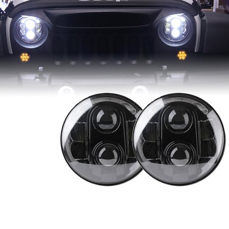 Xprite 7 Inch Round Super Bright 120w G1 Cree Led Projector Headlights With Halo Drl For 1997 2017 Jeep Wrangler Jk Unlimited Tj Lj