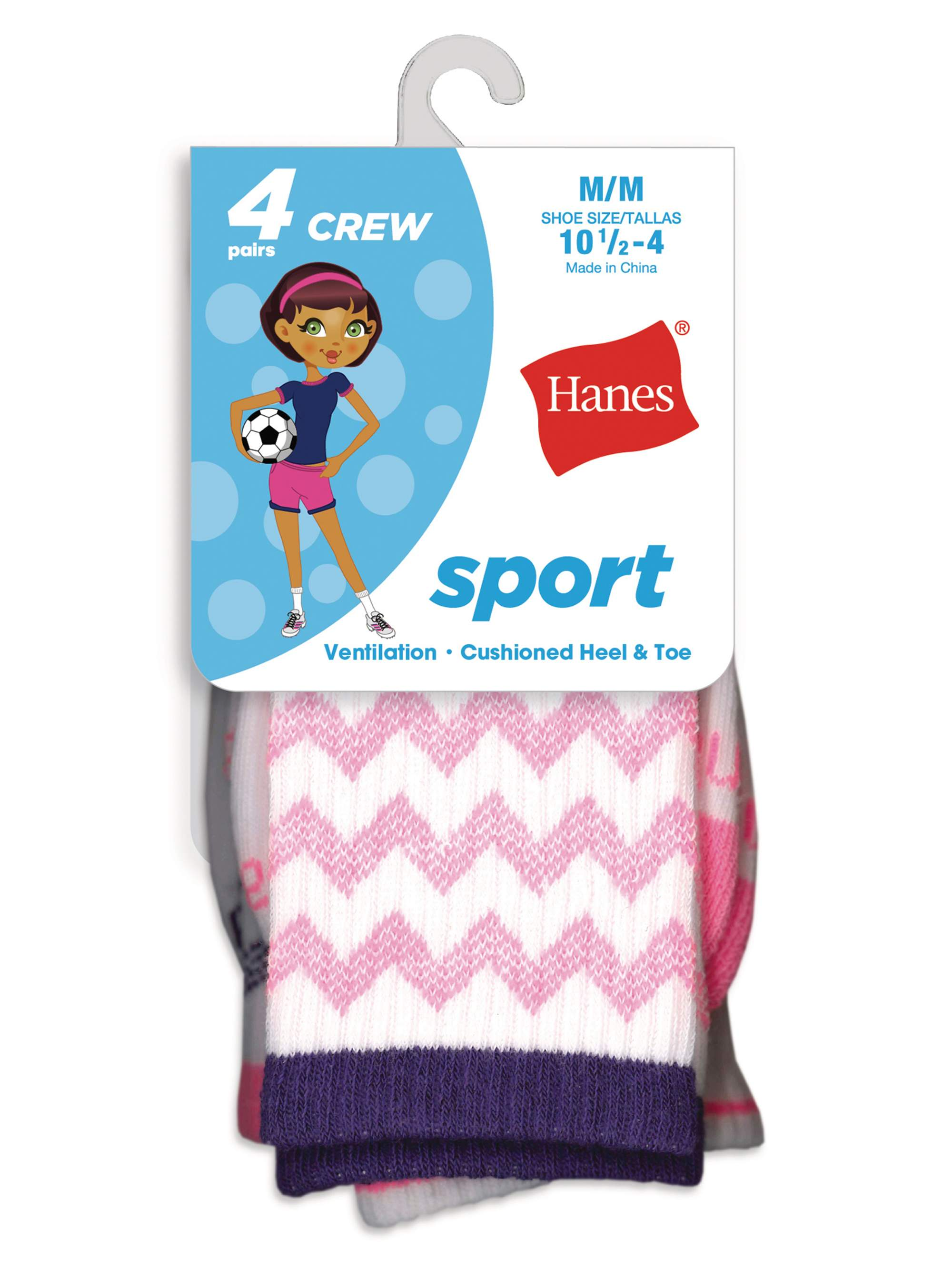 Hanes Sport Crew Socks, 4 Pairs (Little Girls & Big Girls)