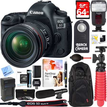 Canon EOS 5D Mark IV 30.4 MP Full Frame CMOS DSLR Camera + EF 24-70mm f/4L IS USM Lens + UM-MIC100 Mini Condenser Shotgun Microphone + 64GB Deluxe Accessory