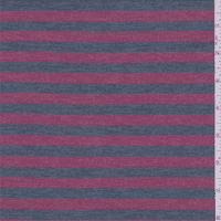 Apple Red/Denim Stripe Rayon Jersey Knit, Fabric By the Yard