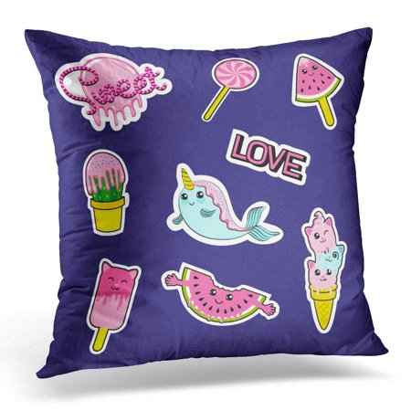 BSDHOME Patch Badges with Candies Watermelon Love Cactus Seal Ice Cream Kittens Cats Eyes and Other Very Large Pillow Case Cushion Cover 16x16 Inches - image 1 of 1