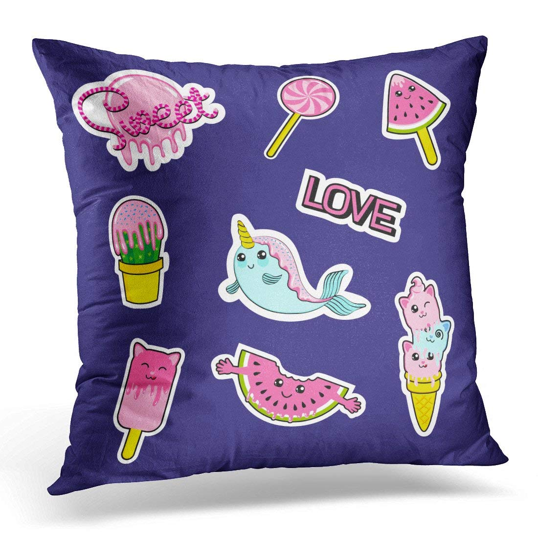 CMFUN Patch Badges with Candies Watermelon Love Cactus Seal Ice Cream Kittens Cats Eyes and Other Very Large Pillow Case Cushion Cover 16x16 Inches