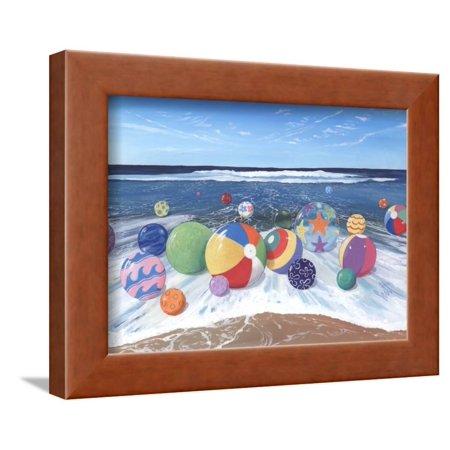 Beach Balls Framed Print Wall Art By Scott - Black And White Beach Balls