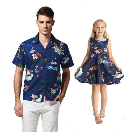 d6ee1121 Matching Father Daughter Hawaiian Dance Shirt Vintage Dress Christmas Santa  in Hawaii Navy Men M Girl 6 - Walmart.com