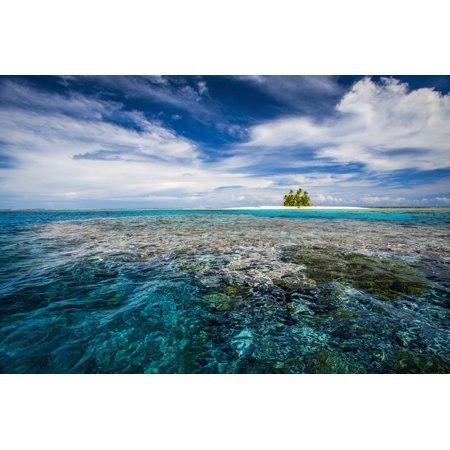 An island that forms part of the marine park near the Tuvalu mainland Tuvalu Canvas Art - David Kirkland Design Pics (19 x 12)