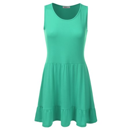 Doublju Womens Loose Fit Sleeveless Ruffle Hem Dress With Plus Size AQUA (Aqua Sleeveless Dress)