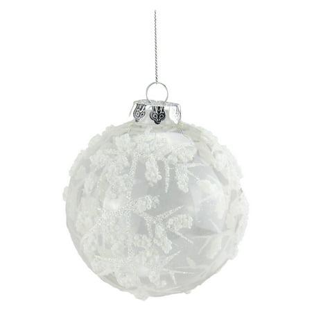 Northlight White Glitter Beaded Glass Ball Christmas Ornament