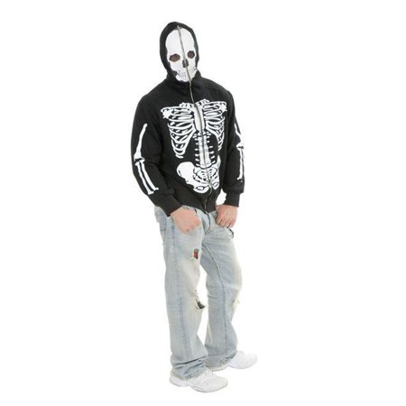 Adult Men's Skeleton Print Black Hoodie Sweatshirt