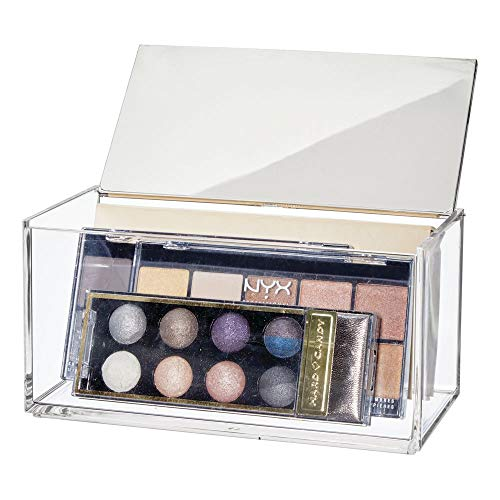 Eye Shadow Palettes Mdesign Large Makeup Organizer Box Decorative Mirror Lid For Bathroom Vanity Countertops Lip Gloss Cabinet Store Makeup Brushes Plastic Clear Brushed Jewelry Lipstick Shoe Jewelry Watch Accessories Jewelry Accessories