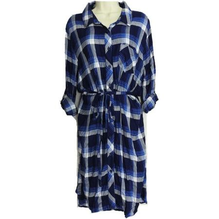 BLL nyc Womens Size X-Large Belted Soft Rayon Shirt Dress, Light Blue