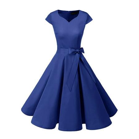 Women's Audrey Hepburn 50s Vintage Dress Cap Sleeve Rockabilly Swing Dress With Belt - 50s Clothing Kids