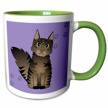 - 3dRose Cute Maine Coon Cartoon Cat - Brown Tabby - Purple with Pawprint - Two Tone Green Mug, 11-ounce