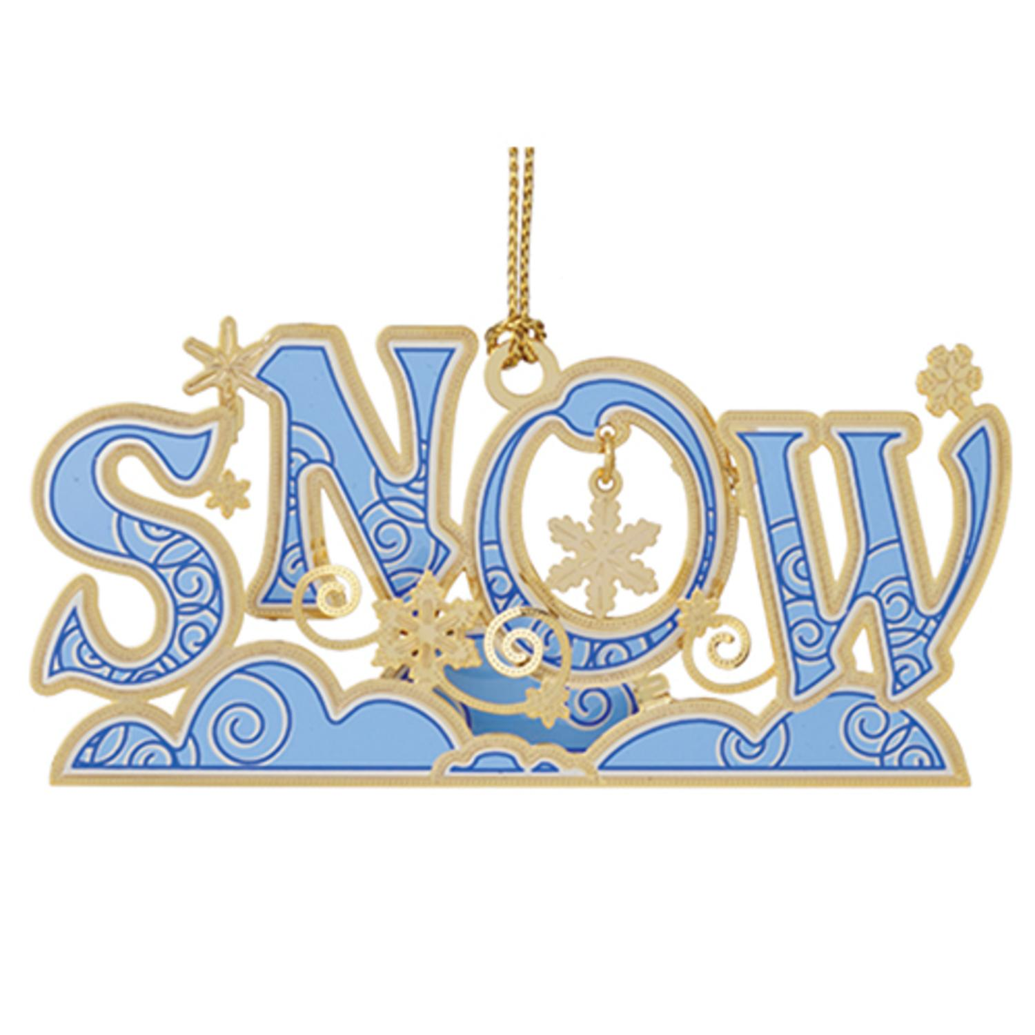 "3.5"" Blue 24K Gold Finished ""Snow"" Christmas Keepsake Ornament"